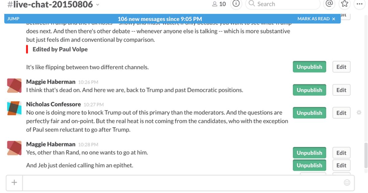 Журналисты The New York Times вели прямую трансляцию теледебатов из Slack.