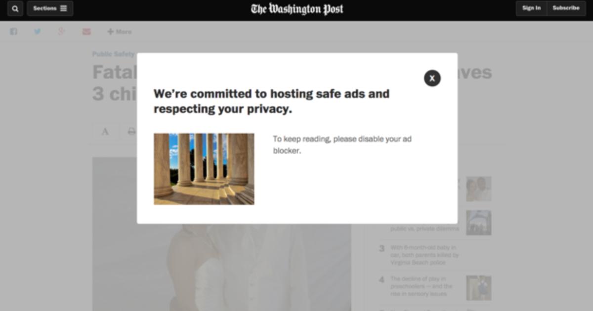 The Washington Post будет блокировать пользователей, использующих AdBlock.