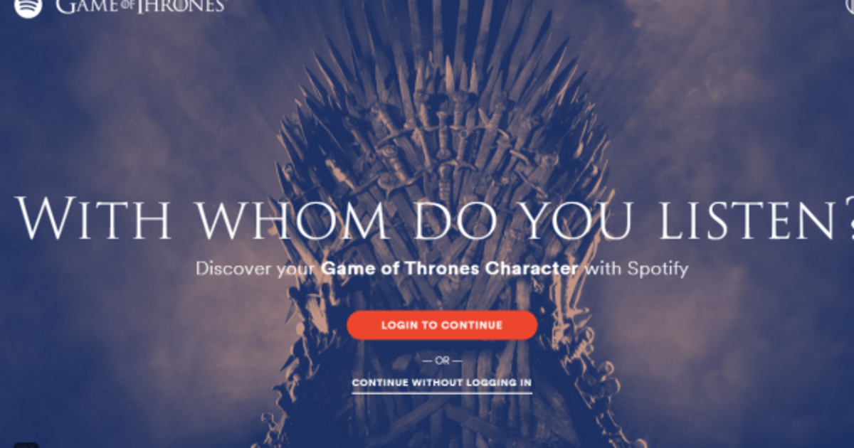 Spotify: какой ты герой из «Игры Престолов».
