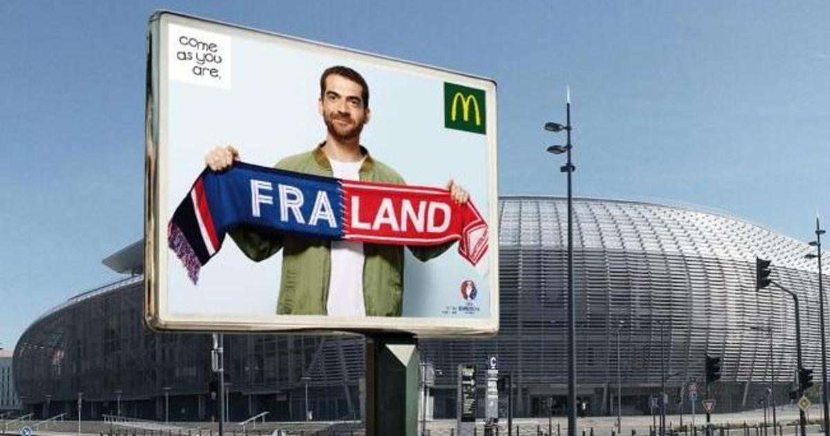 McDonald's объединил страны в Outdoor кампании для Евро 2016.