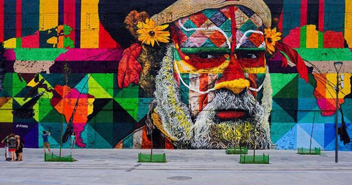 Бразильский художник создал крупнейший в мире мурал в честь Игр в Рио.