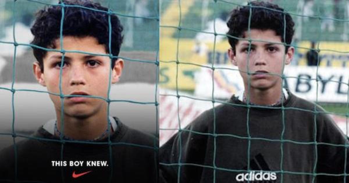 Криштиану Роналду рекламирует Nike в джемпере Adidas.