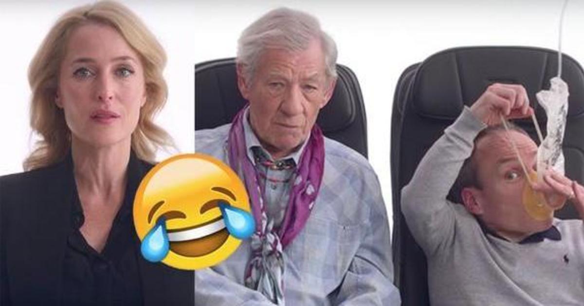 Мистер Бин и другие знаменитости рассказали о безопасности в самолете.