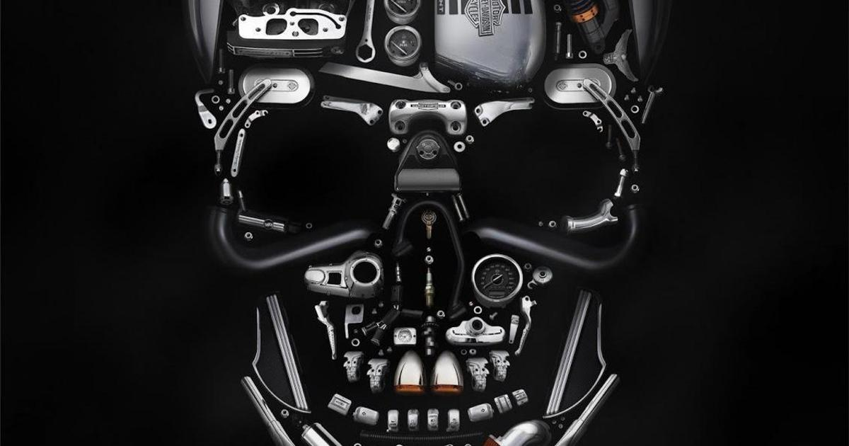 Zulu Alpha Kilo сложили череп из запчастей Harley-Davidson.