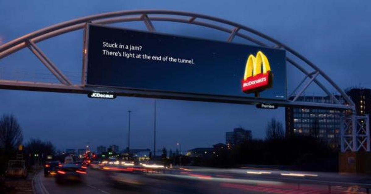 McDonald's меняет сообщение на биллбордах в зависимости от пробок.