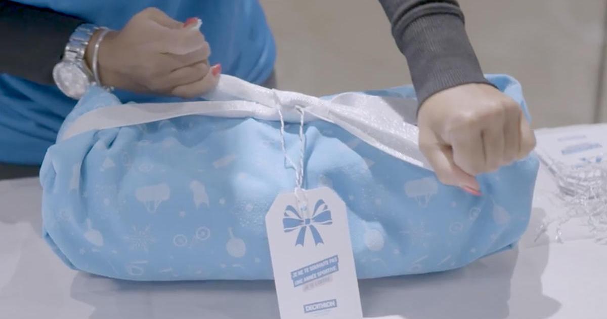 Спортивный магазин Decathlon создал подарочную упаковку из микрофибры.