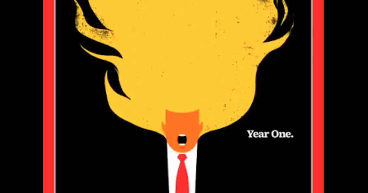 На последней обложке Time у Трампа загорелись волосы.
