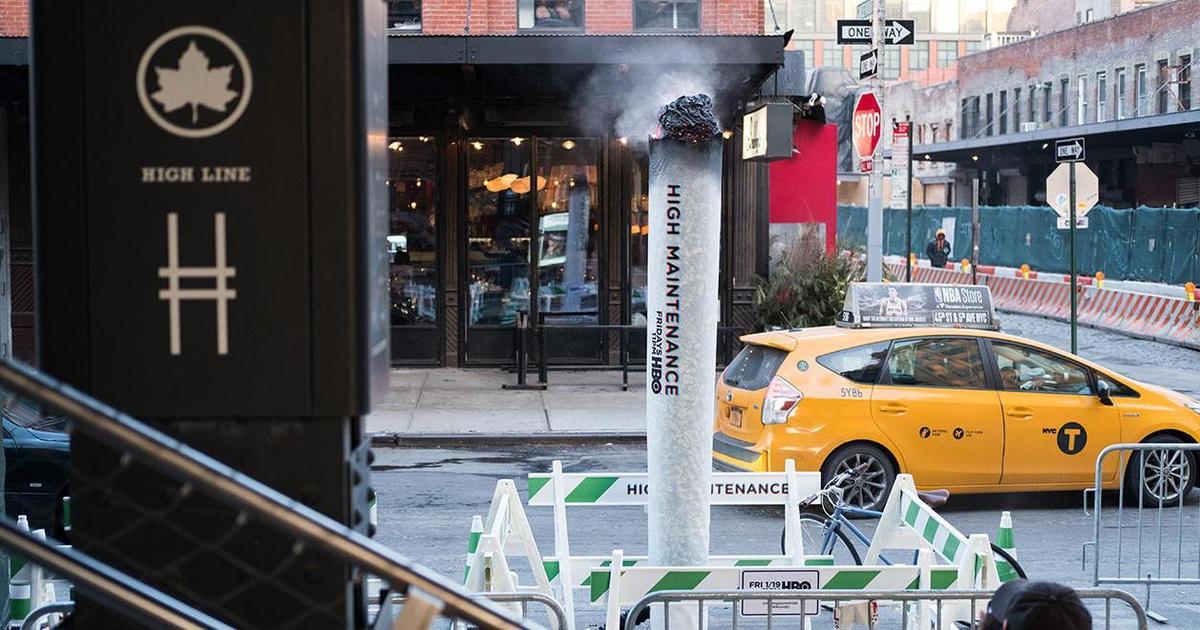 В Нью-Йорке появились дымящиеся сигареты с марихуаной в рамках промо HBO.