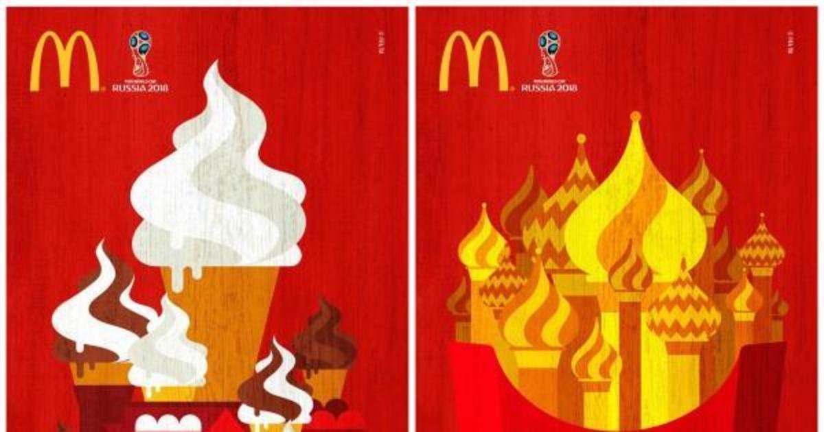 Матрешки и купола: постеры McDonald's к ЧМ 2018 в России.