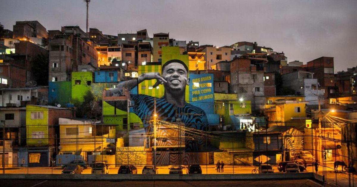 Adidas нарисовал мурал в честь молодого бразильского футболиста.