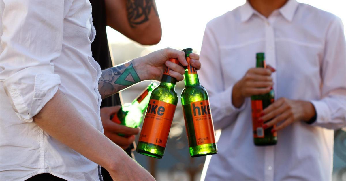 Без золотых колосков: для пива Hike создали лаконичную этикетку.