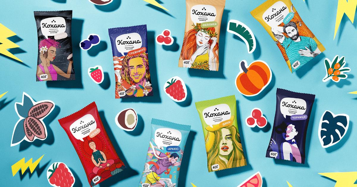 Для фруктово-ореховых батончиков «Кохана» создали эмоциональные упаковки.