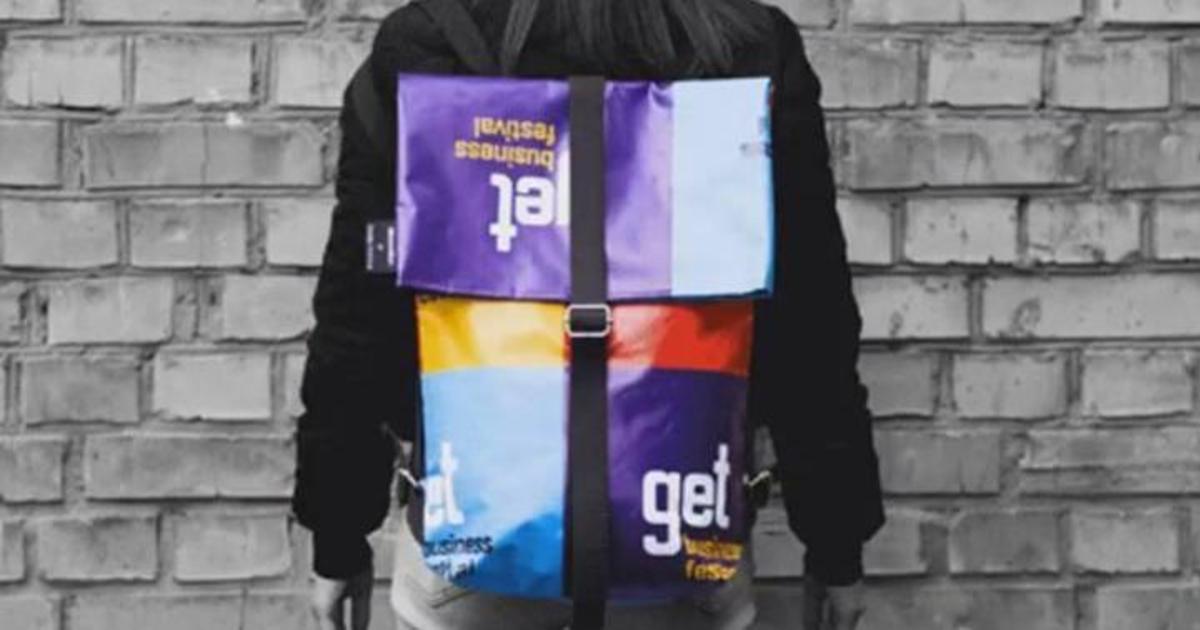 Для Get Business Festival сшили рюкзаки из рекламного баннера.