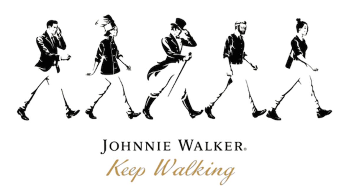 К шагающему человеку Johnnie Walker присоединилась группа друзей.