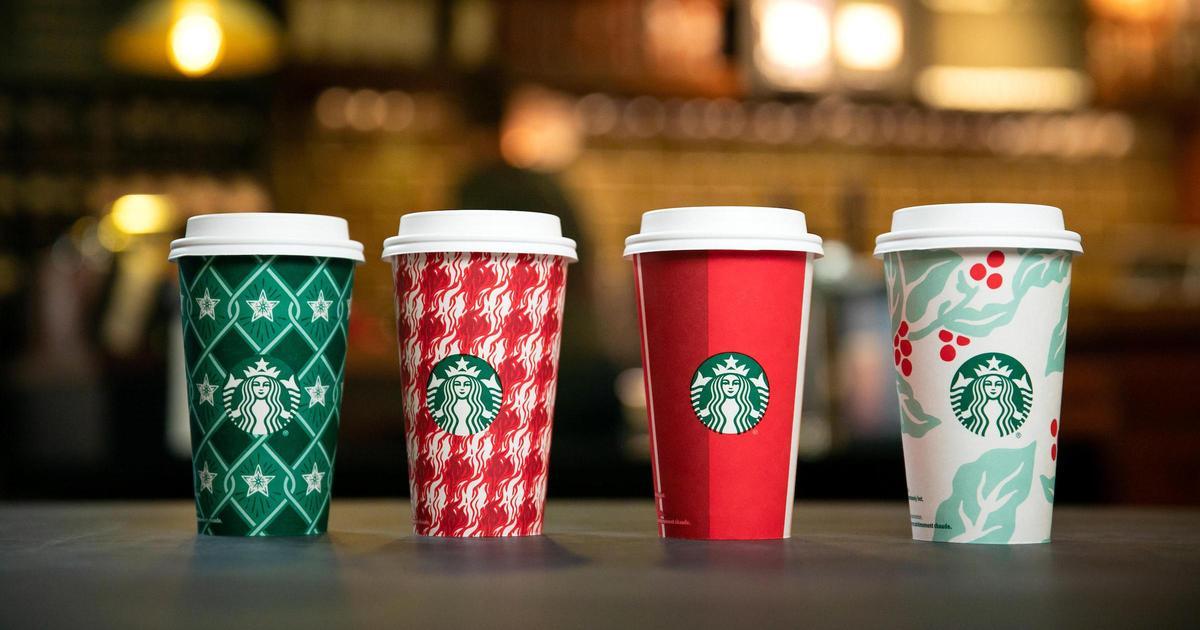 Starbucks представил рождественский дизайн чашек.