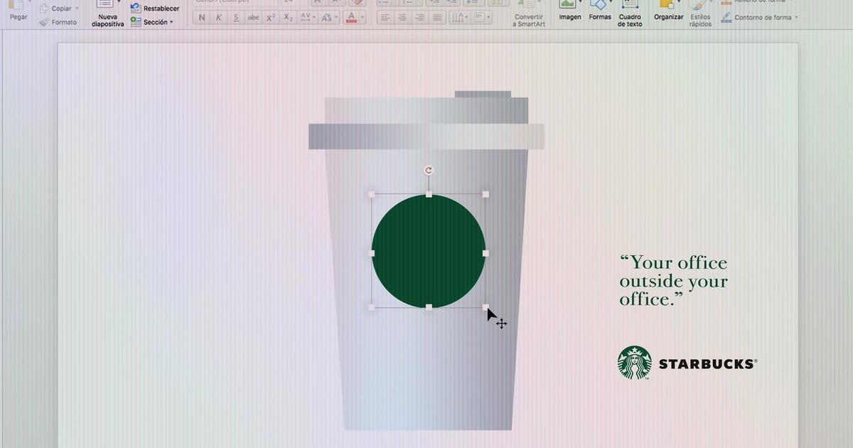 Starbucks создал рекламные принты в офисных редакторах.