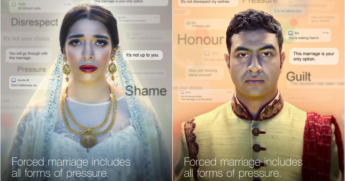Британский департамент по контролю за иммиграцией создал кампанию о брачном насилии.