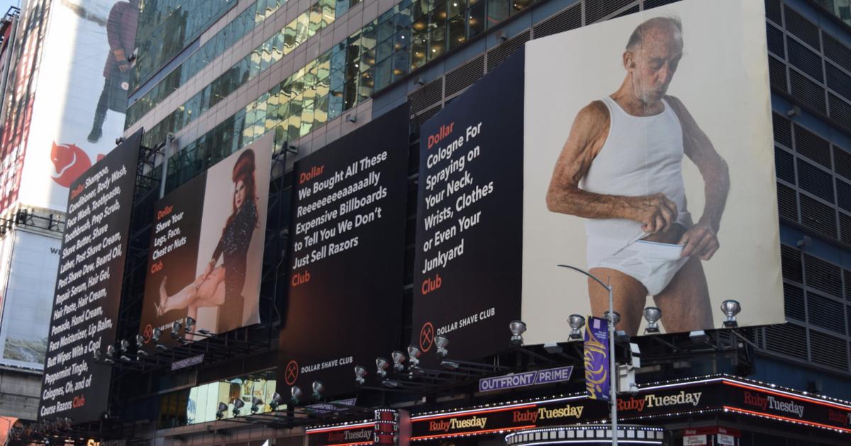 В канун Нового года Таймс-сквер заполонила провокационная реклама Dollar Shave Club.