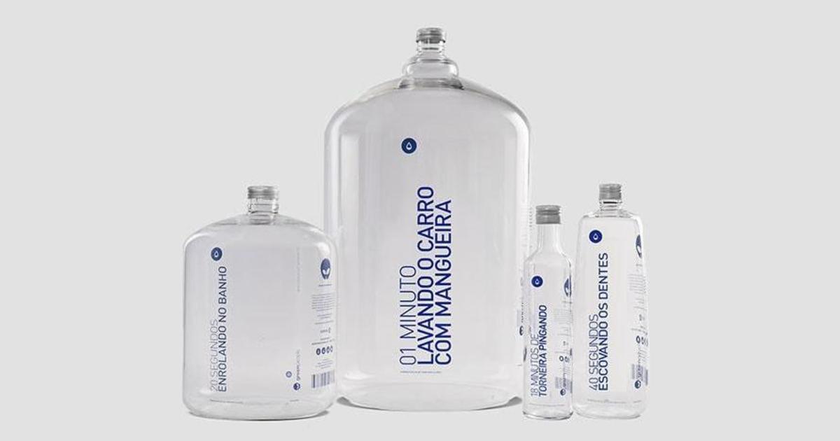 Бренд сока показал, сколько воды тратится впустую, с помощью бутылок для воды.