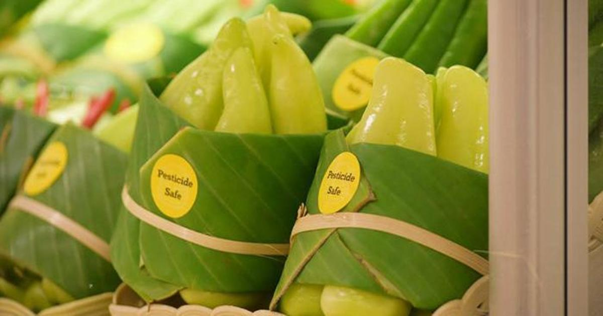 Азиатские супермаркеты начали использовать упаковку из листьев вместо пластика.