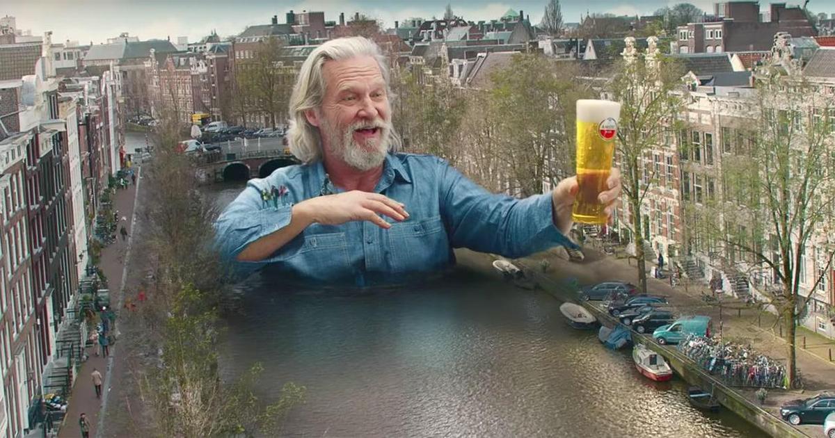 Джеффа Бриджеса превратили в мост в рекламе пивного бренда Amstel