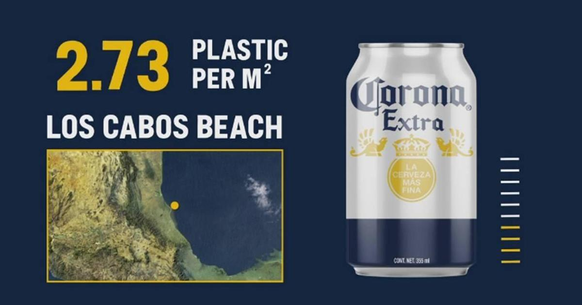 Corona наглядно показала уровень загрязнения пляжей пластиком с помощью дизайна банок