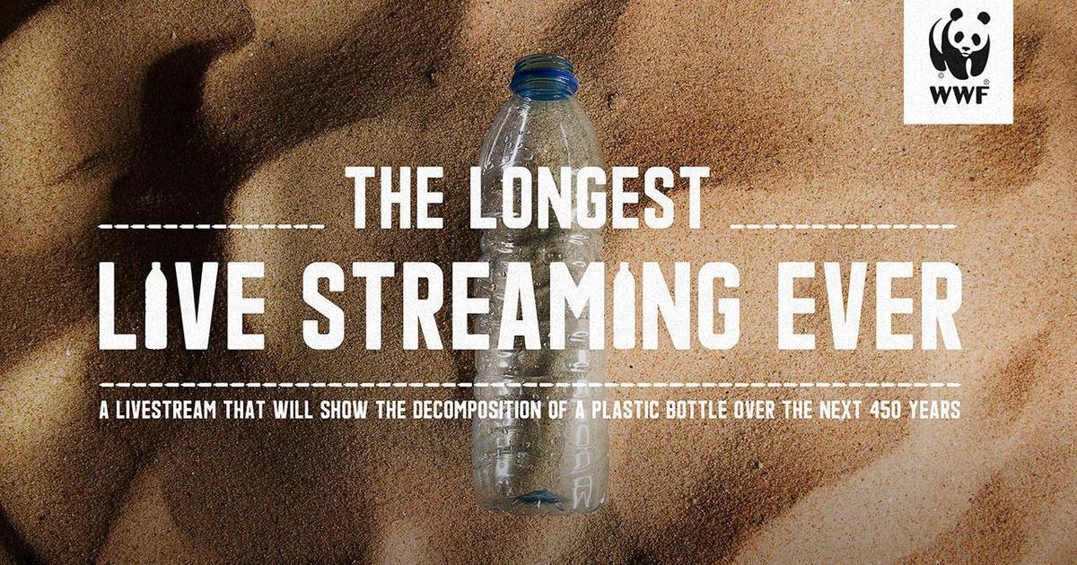 WWF запустил 450-летнюю live-трансляцию распада пластиковой бутылки