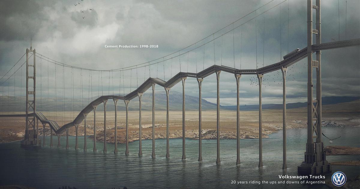 В рекламных принтах Volkswagen превратил мосты в экономические графики