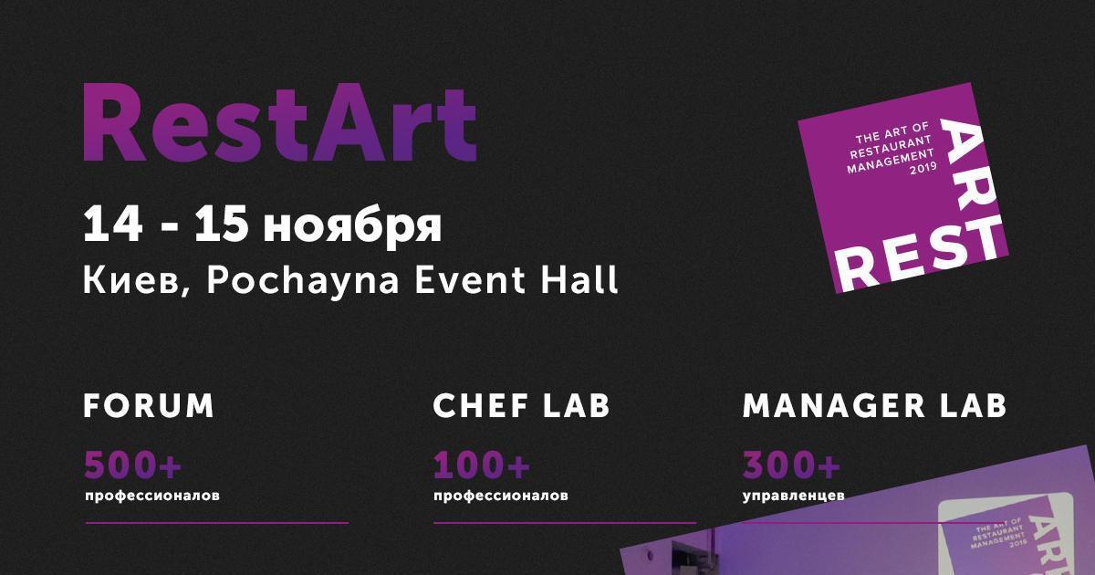 14 та 15 листопада проходитиме міжнародний форум діячів ресторанної сфери RestArt 2019