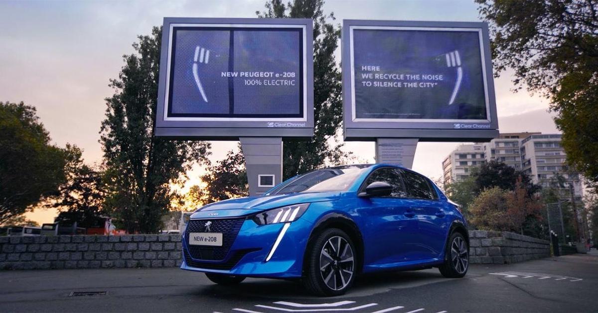 Креатив в Outdoor: Peugeot использовал городской шум для зарядки авто