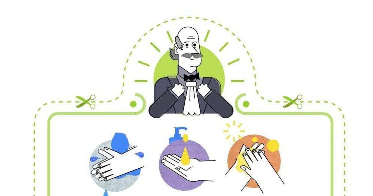 Дудл Google отдал честь доктору Игнацу Земмельвейсу и показал, как мыть руки