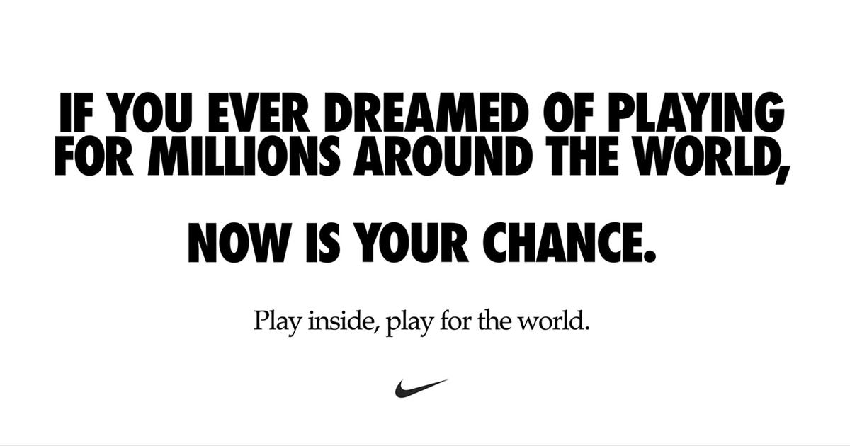 Nike призвал фанатов спорта играть дома