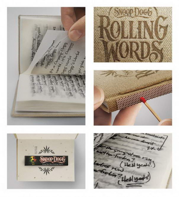 Папиросная бумага в виде сборника стихов песен Snoop Dogg. Уникальный дизайн Pereira & O'Dell, United States