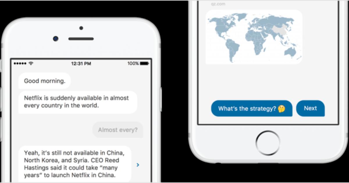 Quartz превратил новости в чат благодаря новому iOS приложению.