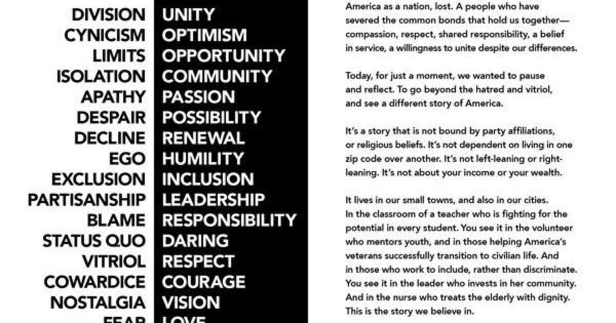 Starbucks использовал речь СЕО перед акционерами в печатной рекламе.
