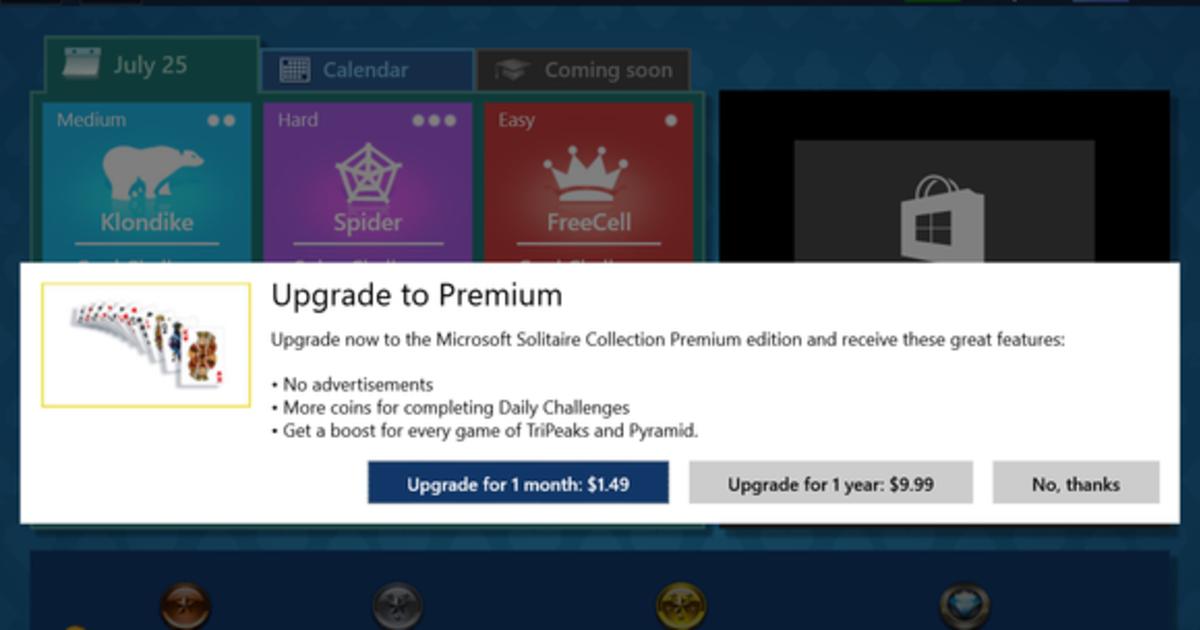 Microsoft заставит пользователей Windows 10 заплатить за игру в карты.