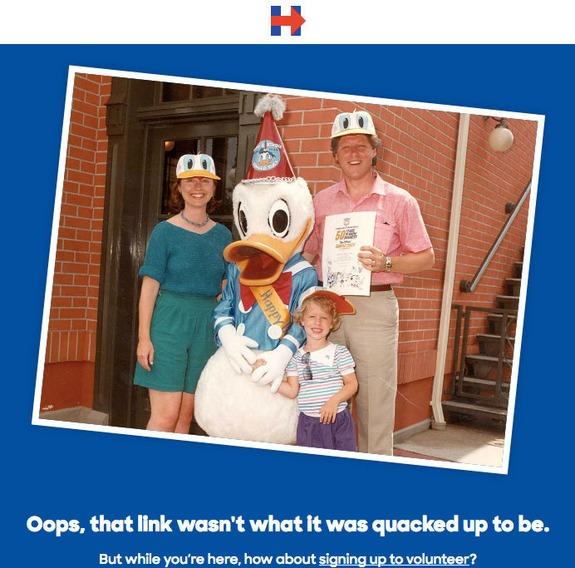 Хилари Клинтон показала, что нужно делать со страницей, выдающей ошибку 404, на примере сайта в поддержку ее президентской кампании