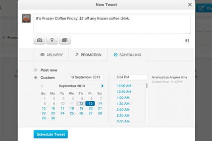 Twitter позволит рекламодателям выставлять конкретный день и время желаемой публикации твита.