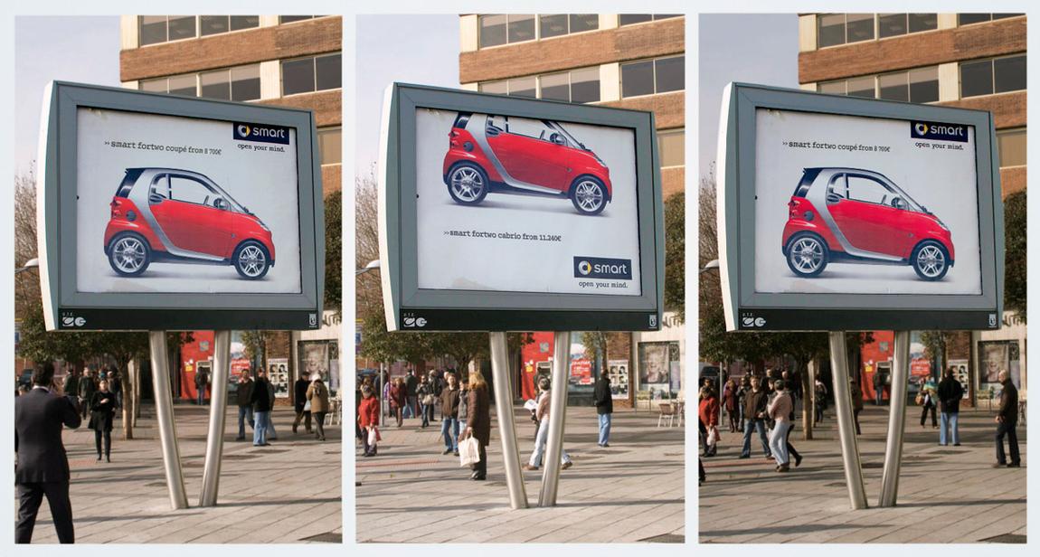Оригинальная наружная реклама Smart установленная в Мадриде удивляет простотой решения и, что самое главное, грубым нарушением правил рекламы.