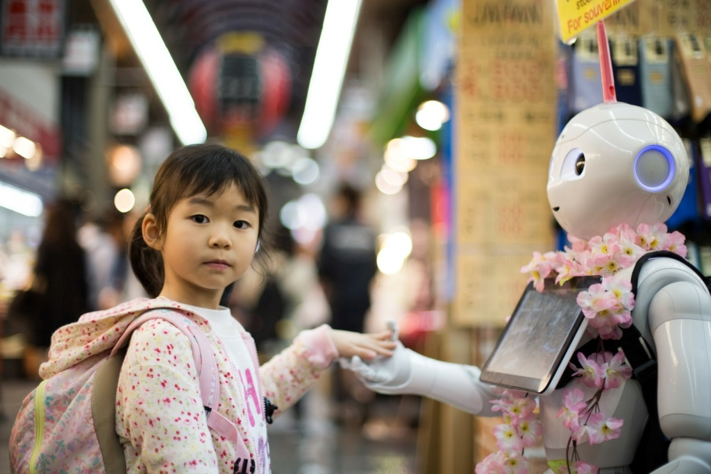 child & robot