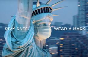 На Статую Свободы надели маску в социальном ролике