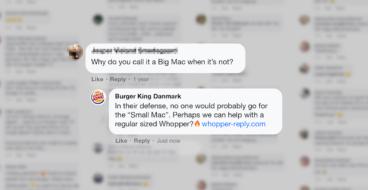 Burger King ответил на жалобы фанатов McDonalds в Facebook