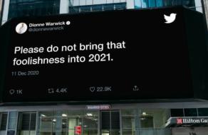 Twitter разместил билборды с твитами об уходящем 2020 годе